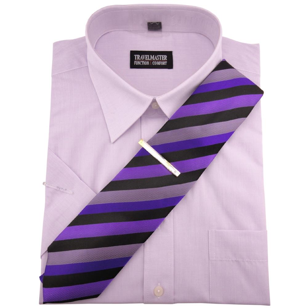 travelmaster business herrenhemd flieder hemd kurzarm krawatte krawattennadel ebay. Black Bedroom Furniture Sets. Home Design Ideas
