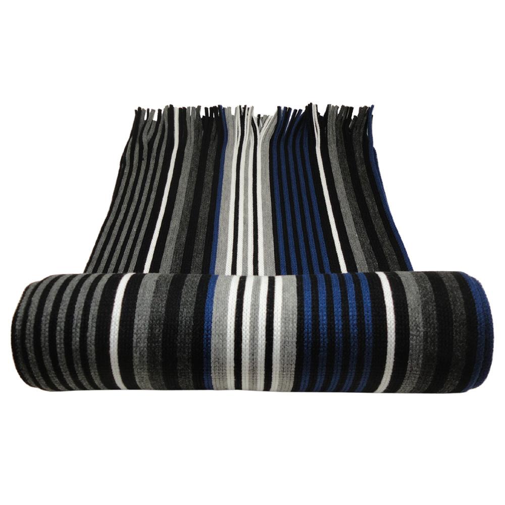 raschel schal strickschal in blau grau schwarz anthrazit weiss gestreift acryl ebay. Black Bedroom Furniture Sets. Home Design Ideas