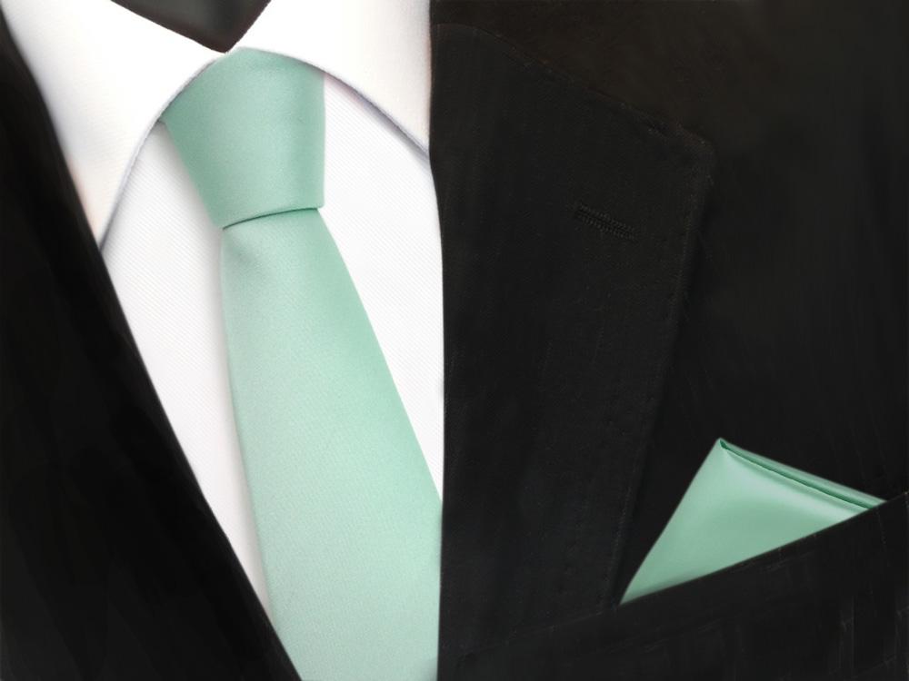 schmale schlips krawatte einstecktuch mint blassmint gr n uni binder polyester ebay. Black Bedroom Furniture Sets. Home Design Ideas