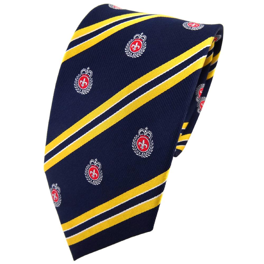 tigertie seidenkrawatte blau gelb silber rot gestreift wappen krawatte seide ebay. Black Bedroom Furniture Sets. Home Design Ideas
