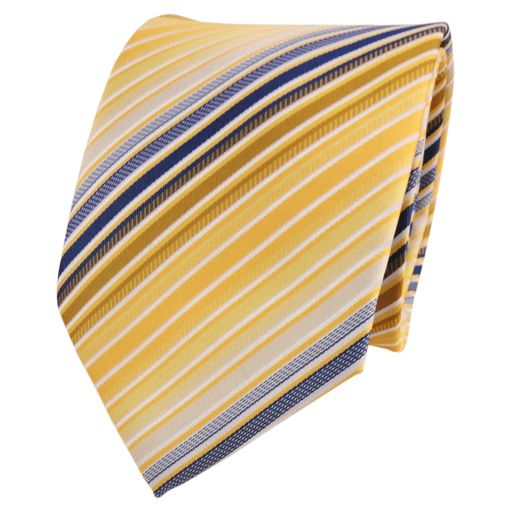 Designer Krawatte Gelb Gold Blau Wei Creme Gestreift