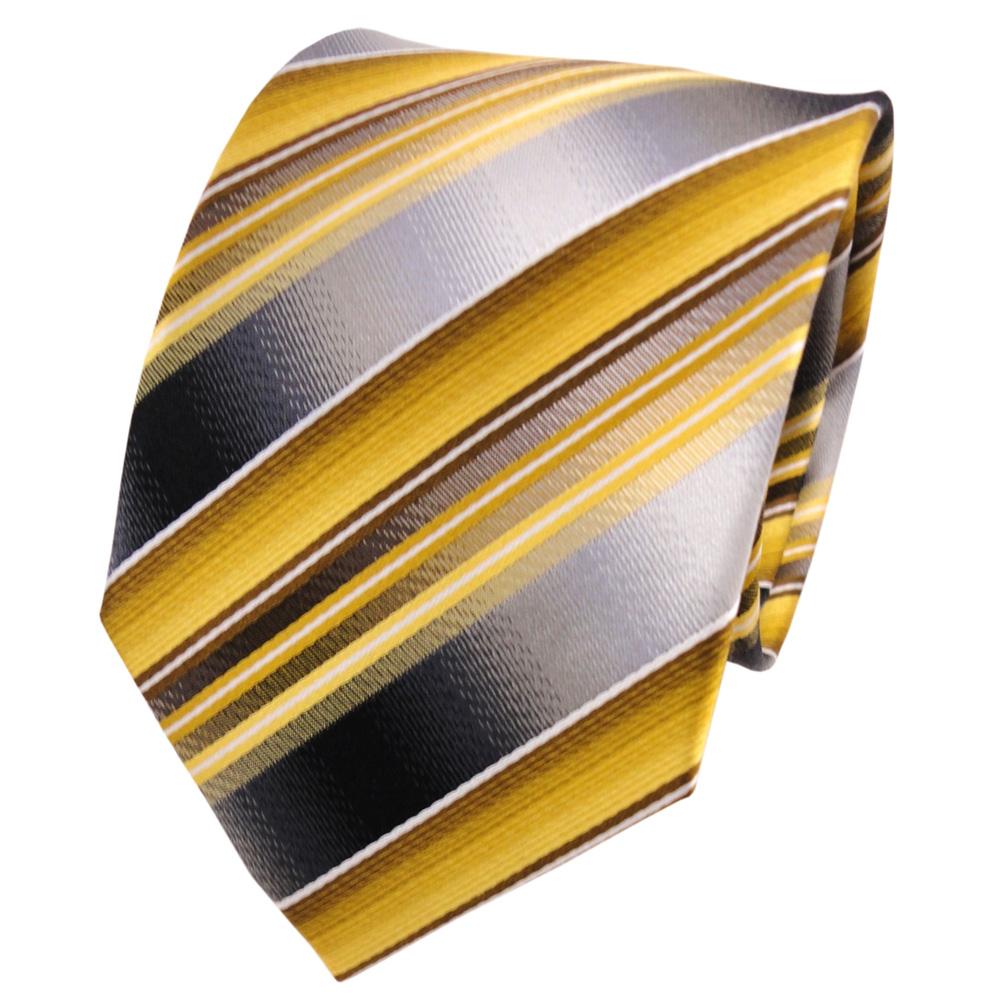 Tigertie Seidenkrawatte Gold Gelb Grau Silber Wei