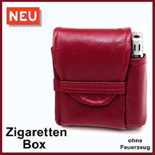 zigaretten etui farbe bordeaux rot mit feuerzeugfach zigarettenbox box ebay. Black Bedroom Furniture Sets. Home Design Ideas
