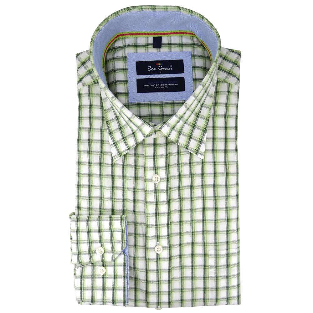 save off 1ac35 d1d98 Details zu Ben Green Herrenhemd grün weiß kariert langarm bügelleicht -  Hemd Gr. M - XXL