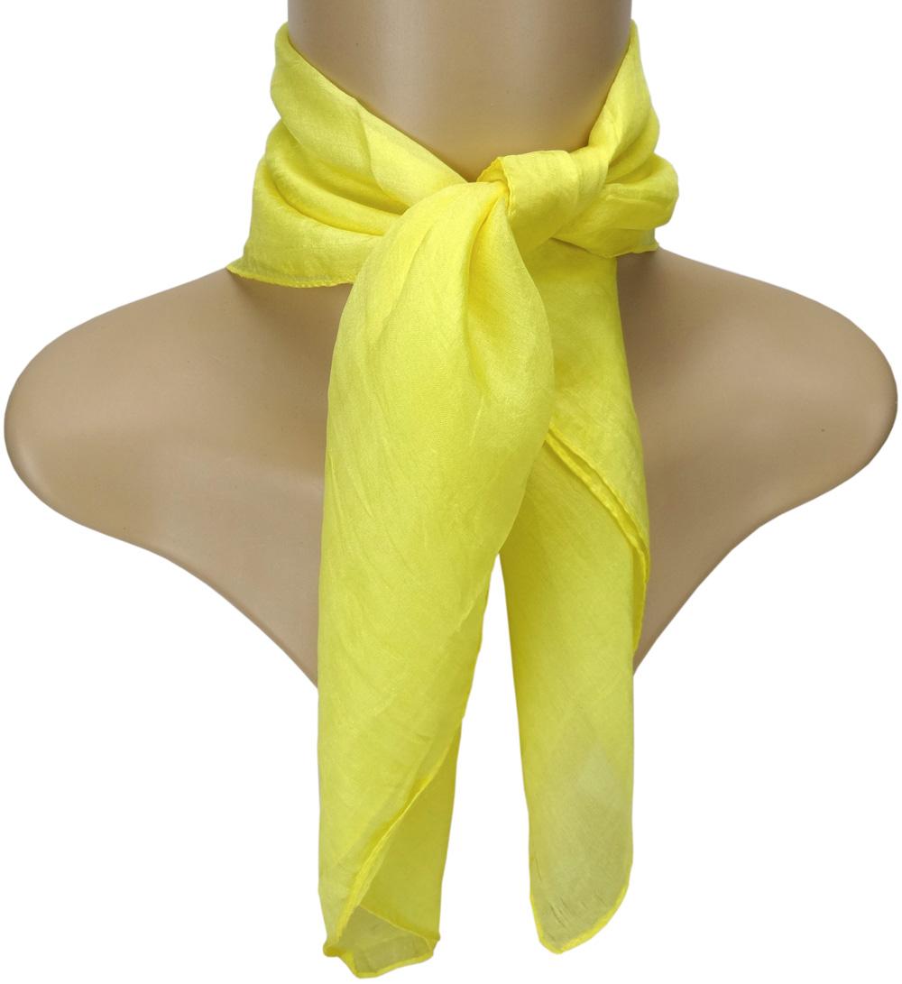 Tuch Halstuch Gr 50 cm x 50 cm Damen TigerTie Nickituch in Seide gelb Uni