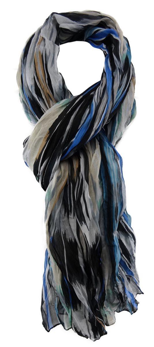 200cm lang gestreift Leinen Schal XXL maritim Sommer Herrenschal Blau Weiß Grau