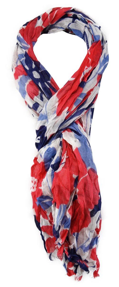 Gr Designer Schal rot orange blau grau braun mehrfarbig gemustert 180 x 50 cm