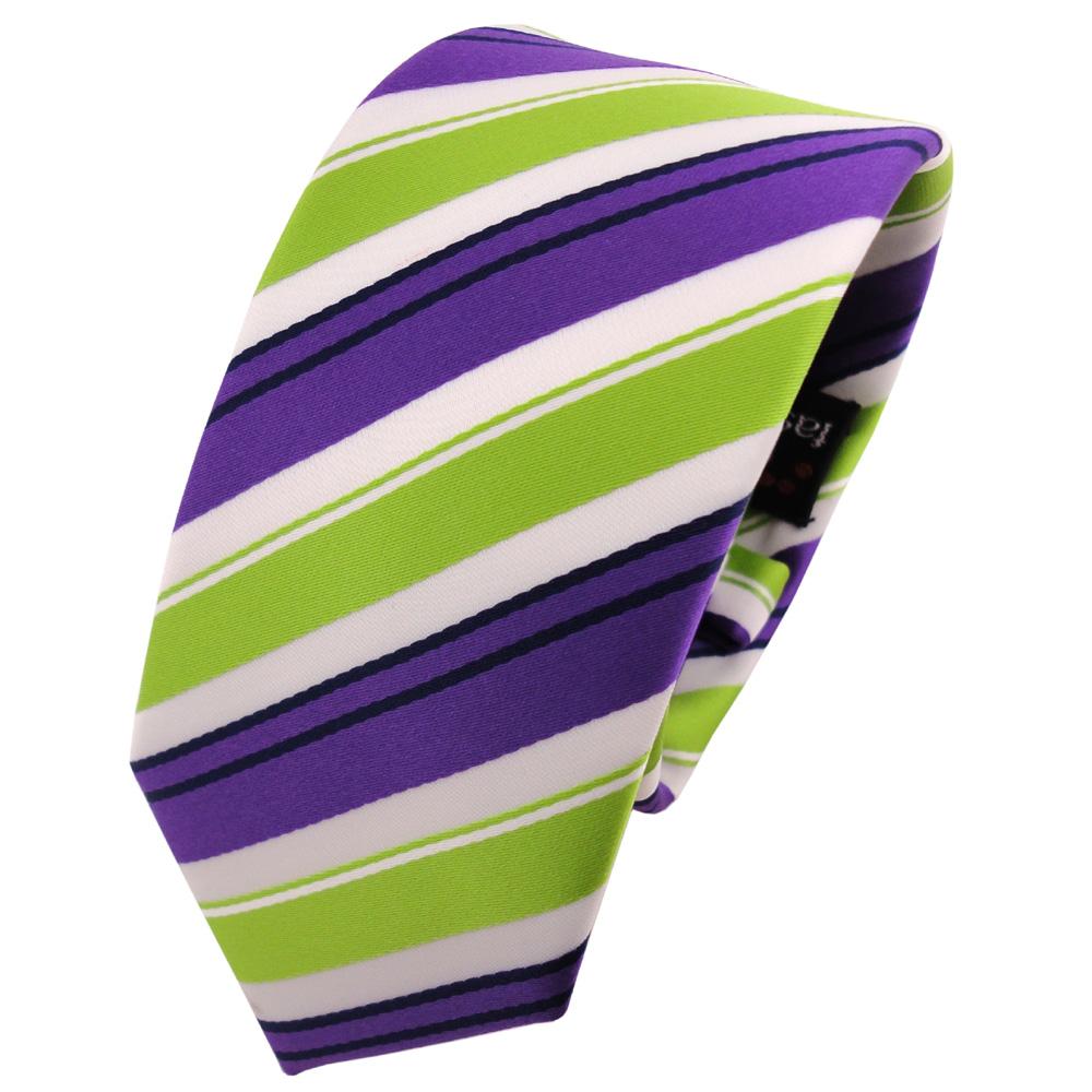 Schmale TigerTie Krawatte anthrazit grau silber weiss gestreift Schlips Binder