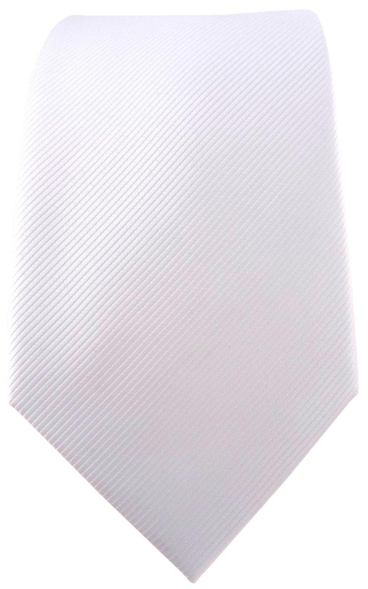 schmale TigerTie Krawatte Einstecktuch in weiß reinweiß schneeweiß Uni Rips
