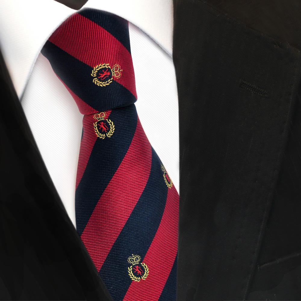 Einstecktuch braun dunkelblau gestreift mit Wappen TigerTie Designer Krawatte