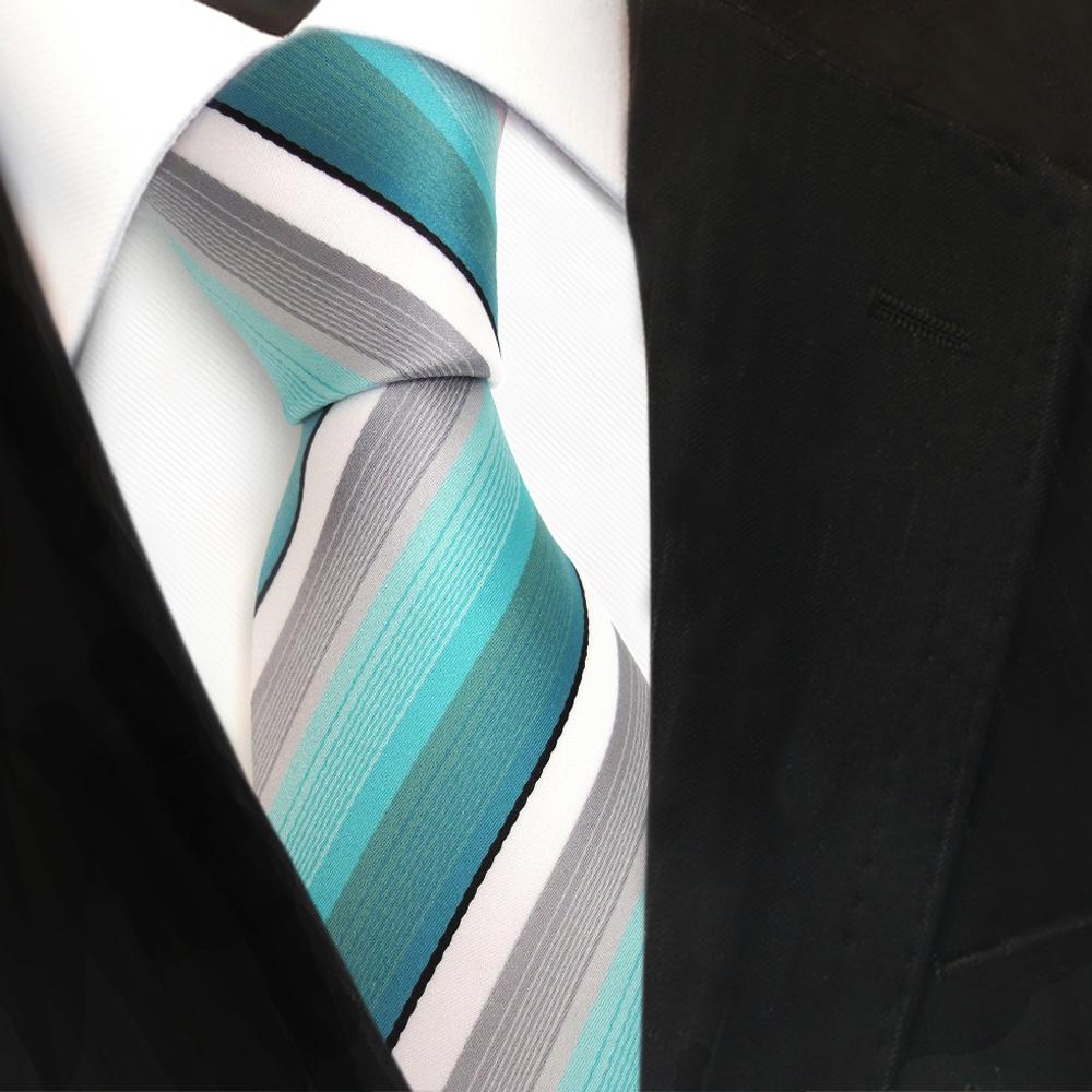 tigertie designer krawatte t rkis mint grau wei schwarz. Black Bedroom Furniture Sets. Home Design Ideas