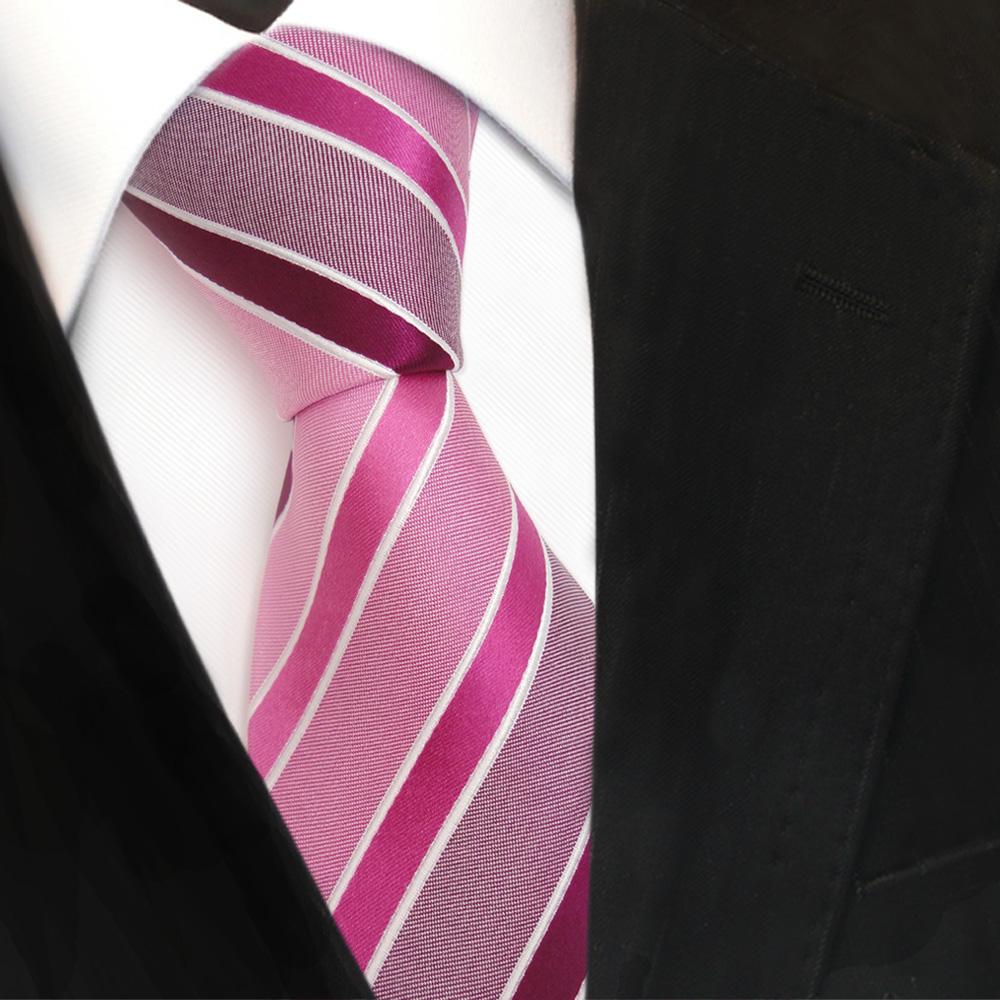 Krawatte Silk Satin Seidenkrawatte rot weinrot anthrazit silber grau gestreift